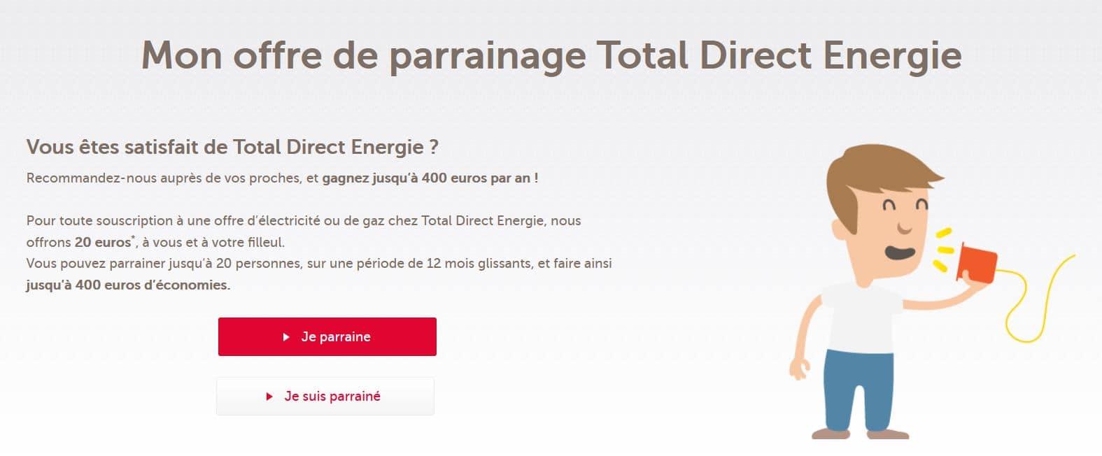 le code parrainage total direct énergie sur internet