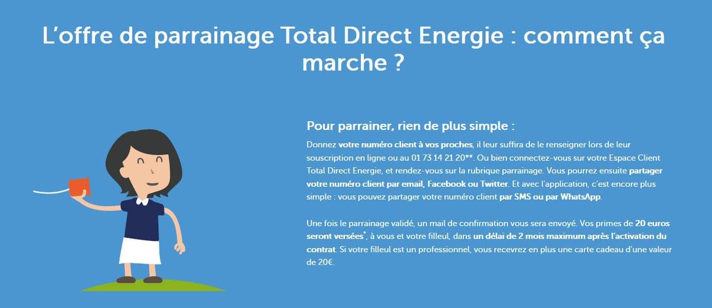 le fonctionnement du code parrainage total direct énergie