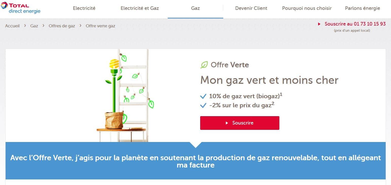 offre verte de gaz total direct énergie
