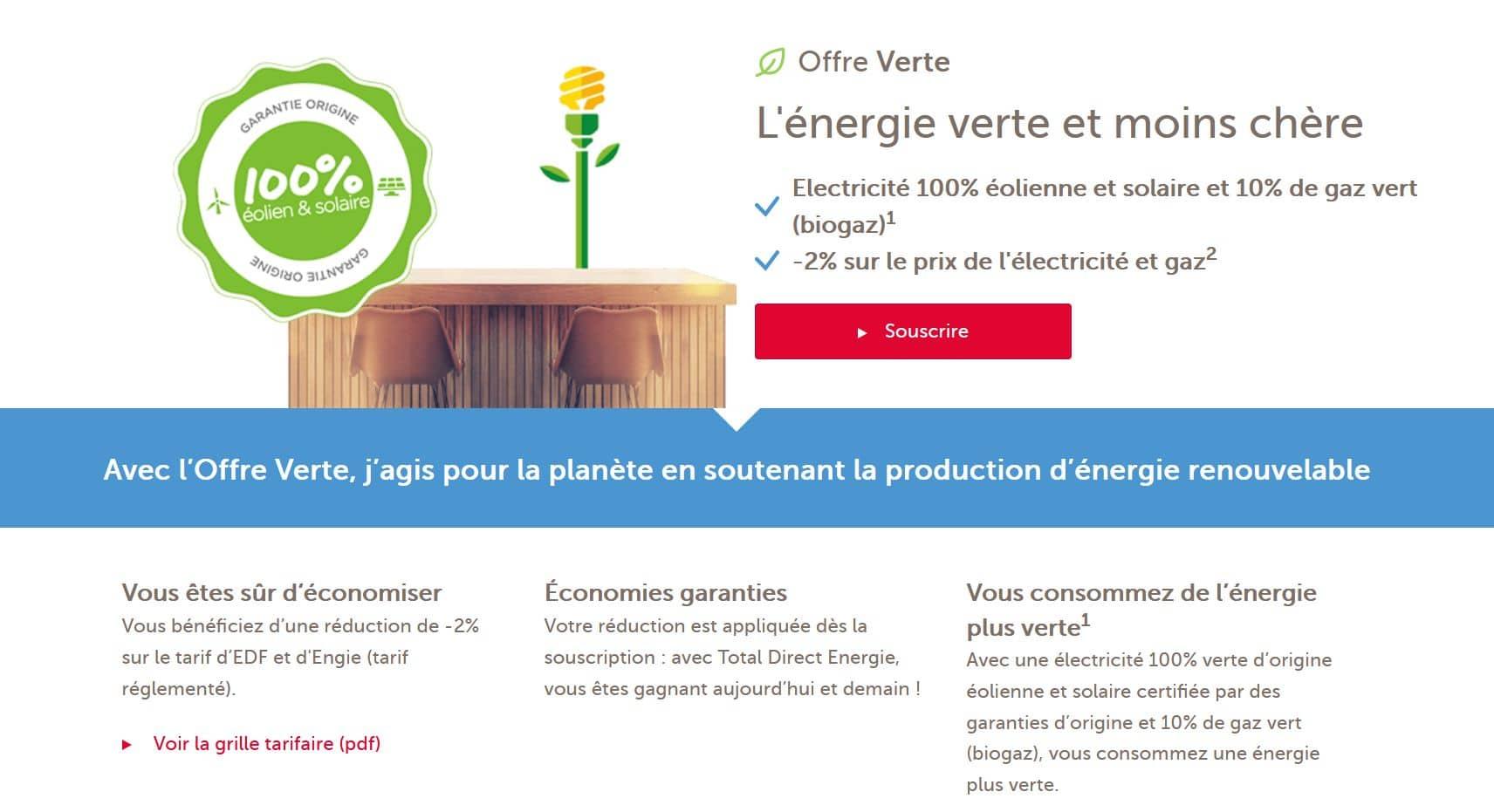 l'offre verte total direct énergie